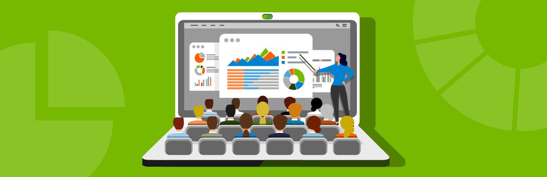 Illustration: Laptop, auf dessen Monitor eine Lehrveranstaltung zu sehen ist