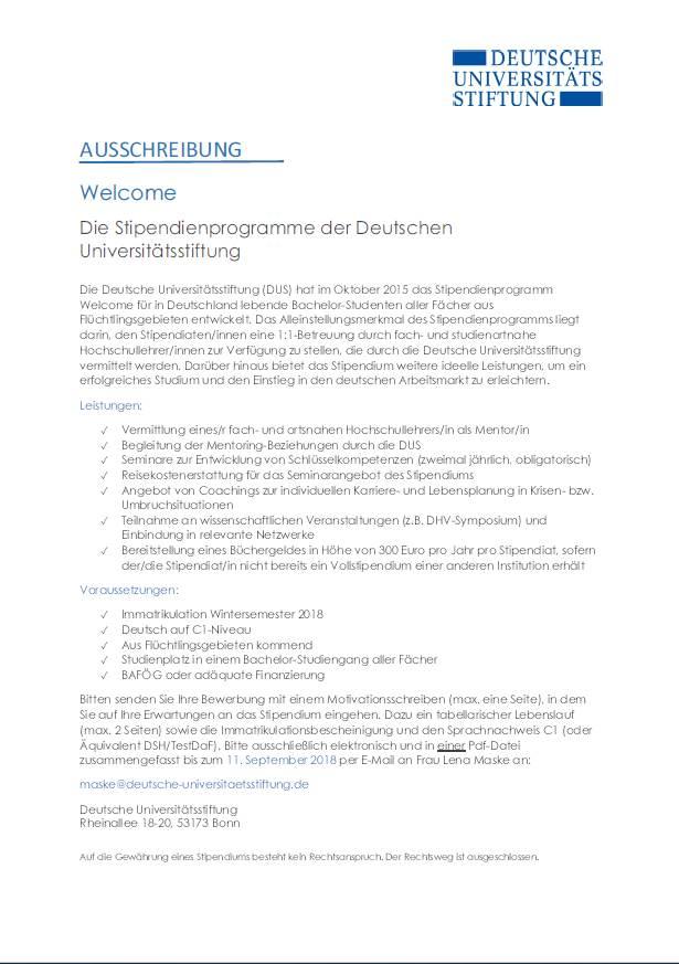 Welcome Stipendienprogramm