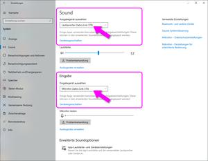 Screenshot PC-Einstellungen der Tonein- und Tonausgabe
