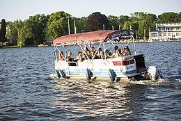 Eine Bootsfahrt auf der Dahme beim Netzwerktreffen 2018