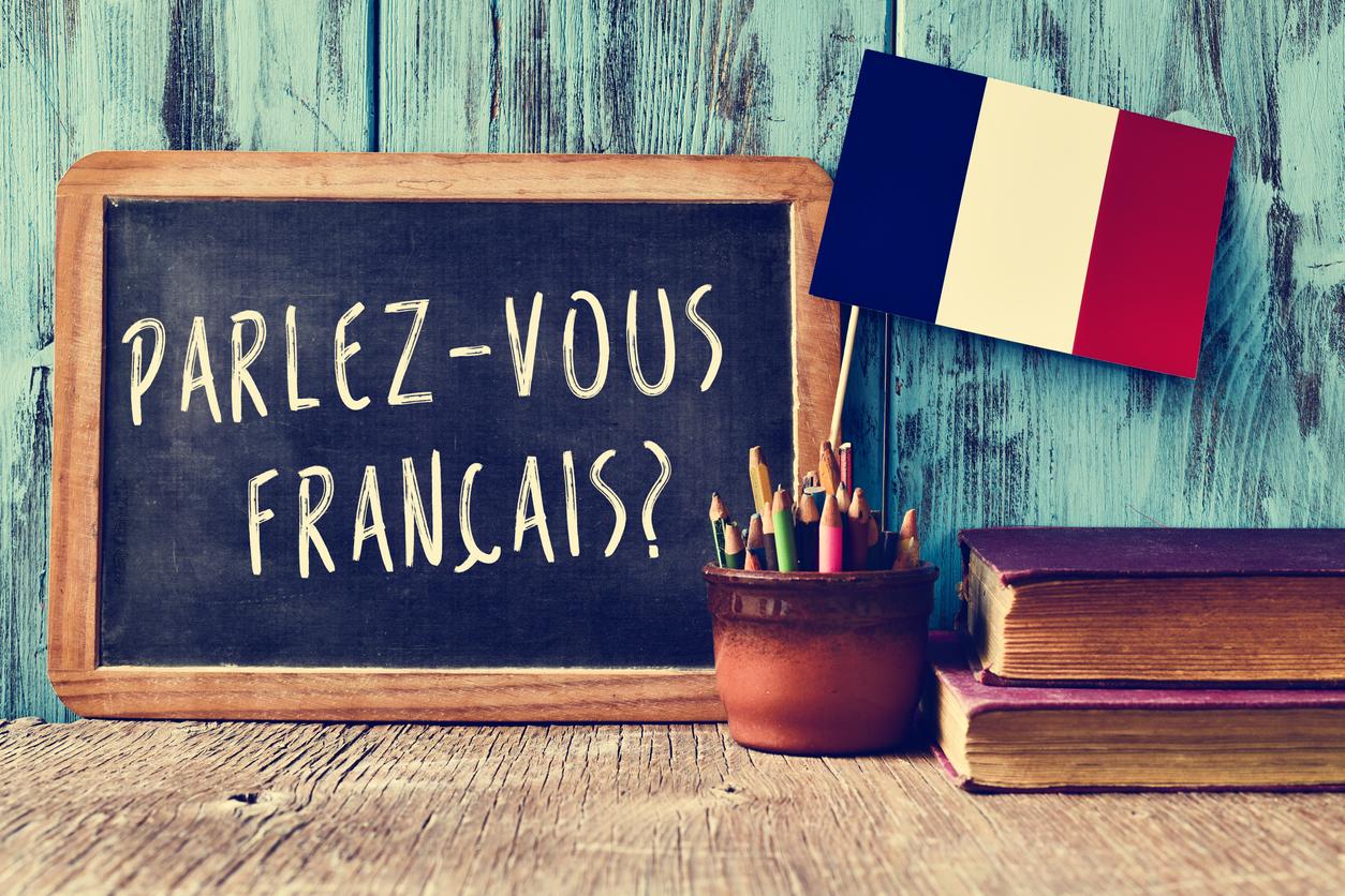 """Tafel mit der Aufschrift """"parlez-vous francais?"""""""