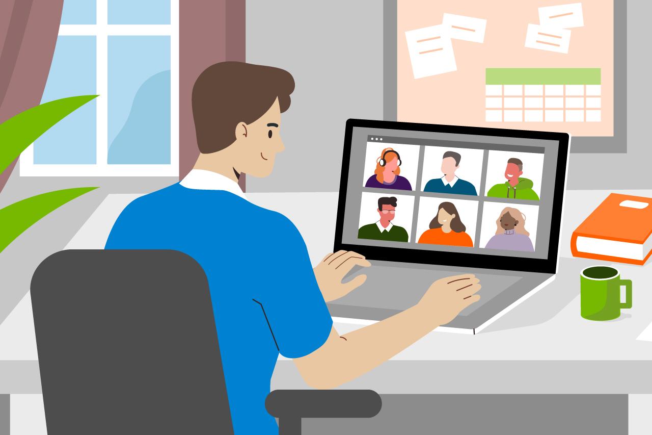 Illustration: Mann bei einer Videokonferenz