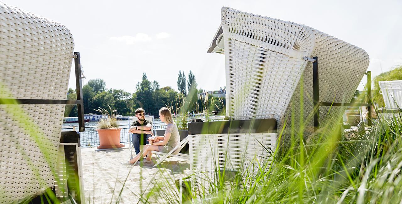Beach chairs on the Wilhelminenhof campus