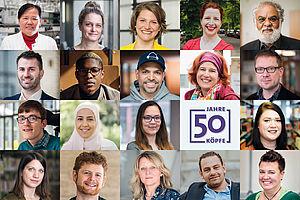 "Fotocollage ""50 Jahre - 50 Köpfe"""
