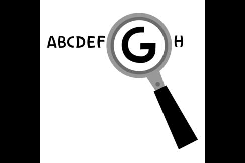"""Illustation mit dem Buchstaben """"G"""" unter einer Lupe"""