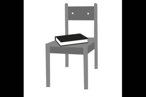Illustration mit einem Stuhl, auf dem ein Buch liegt