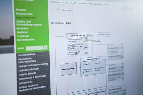 Hochschulstruktur auf der Webseite der HTW Berlin