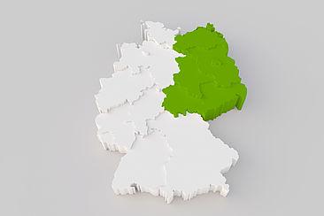 Deutschlandkarte in 3D, Ostdeutschland ist grün eingefärbt