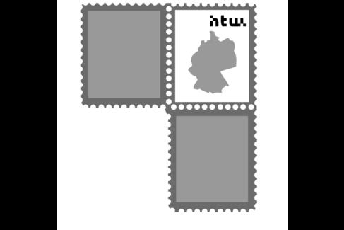 Illustration mit einer Briefmarke, darauf der Umriss Deutschlands