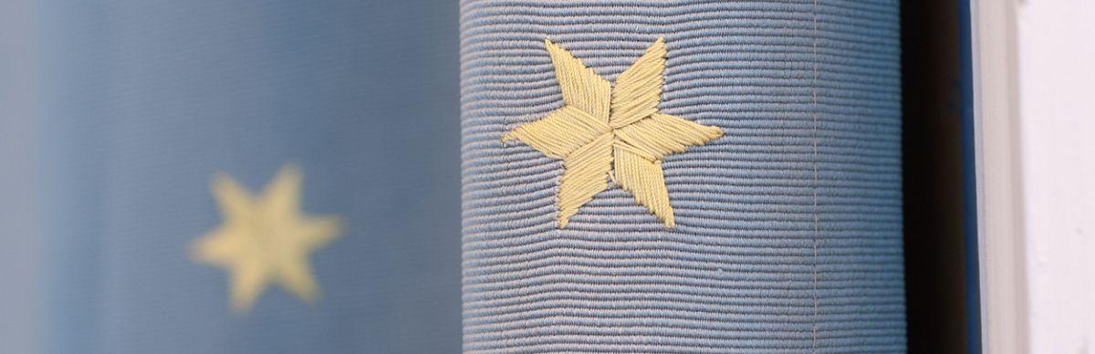 Stoffnachbildung goldener Sterne auf blauem Grund gemäß einem Stoffmusterbuch aus dem historischen Archiv der HTW Berlin