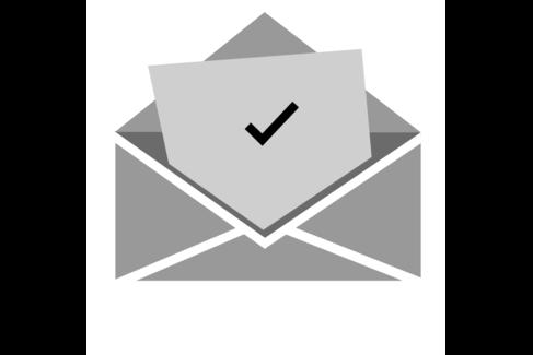 Illustration mit einem Brief mit einer Zusage