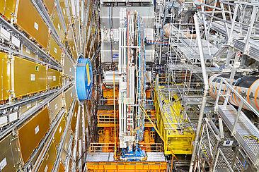 Myon-Spektrometer des Teilchenbeschleunigers Large Hadron Collider, ein Teil des des 44 Meter langen ATLAS-Detektors.