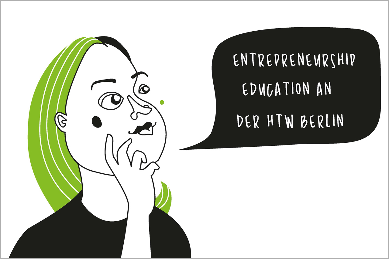 "Frau mit Sprechblase ""Entrepreneurship Education an der HTW Berlin"""