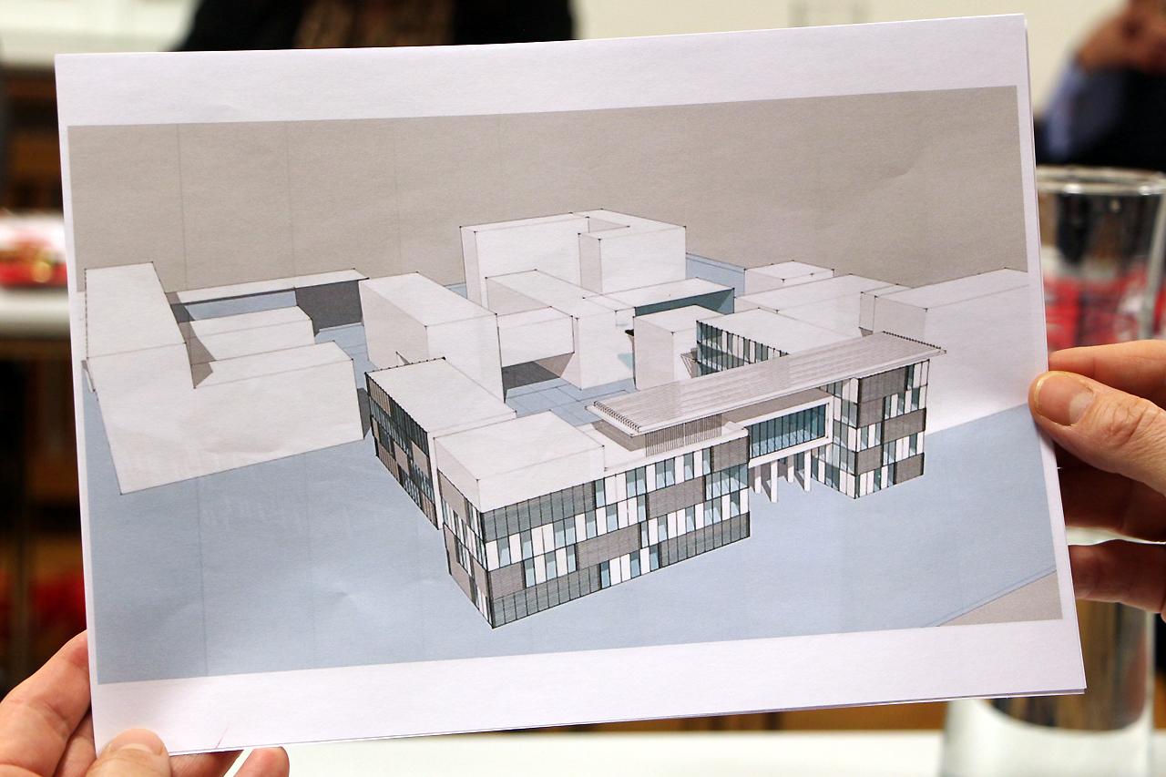 Das Architekturmodell zeigt die geplante Hochschule.
